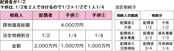 配偶者が1/2子供は、1/2を2人で分けるので1/2×1/2で1人1/4
